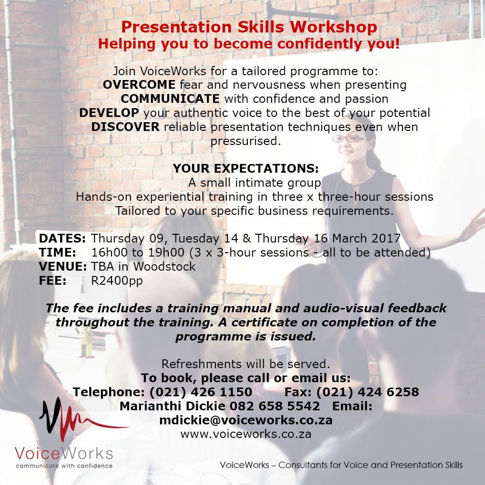 Presentation Skills Workshop by Voiceworks on 9, 14, 16 March 2017