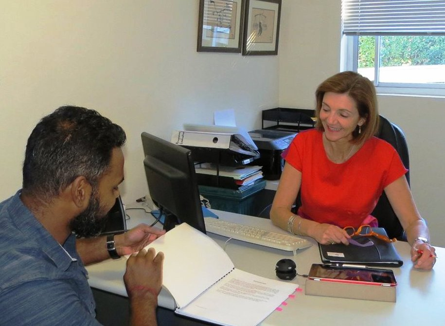 Marianthi working with a client